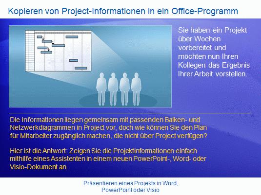 Schulungspräsentation: Project 2007 – Präsentieren eines Projekts in Word, PowerPoint oder Visio