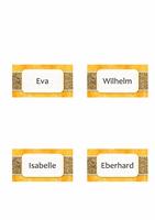 Namens- oder Platzkarten (Design mit Sonne und Sand, Einfachfaltung)