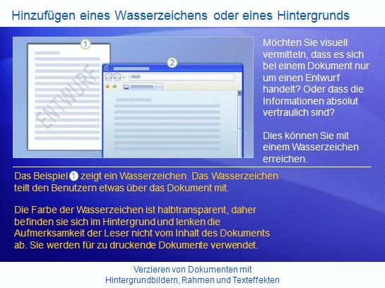 Schulungspräsentation: Word2007 – Verzieren von Dokumenten mit Hintergrundbildern, Rahmen und Texteffekten