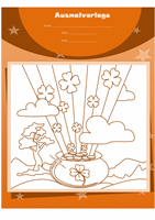 "Ausmalvorlage zum St. Patrick's Day (Design ""Topf voll Gold"")"