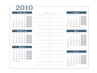 Kalender 2010 (6 Monate/Seite, Mo-So)