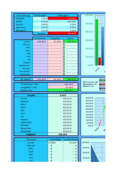 Haushaltsbuch um die Einnahmen und Ausgaben im Blick zu behalten. Mit Auswertung und Diagrammen. Mit Jahresübersicht und Monatseinteilung.