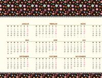 Jahreskalender (Mo-So) mit floralem Design - Jahreszahl variabel