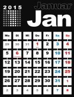 2015 - Monatskalender mit Feiertagen (Mo-So)