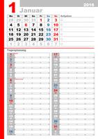 Monatskalender für 2016 mit Feiertagen zum Planen von Aufgaben (Mo-So)