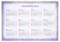 Monatskalender 2016 mit orientalischen Motiven (Mo-So)