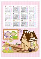 Jahreskalender für 2016 mit niedlichen Kindermotiven (Mo-So)