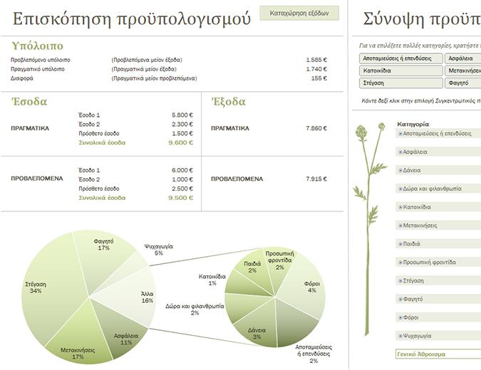 Οικογενειακός προϋπολογισμός (μηνιαίος)