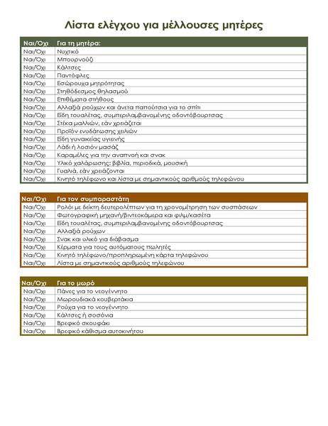 Λίστα ελέγχου νοσοκομείου για μέλλουσες μητέρες