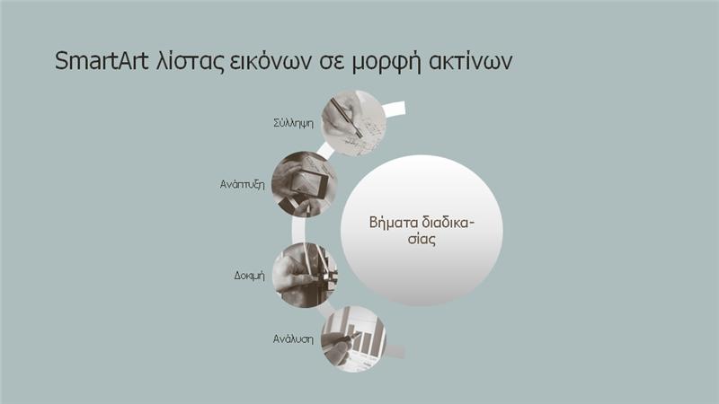 Επεξεργασία SmartArt με λίστα ακτίνων με εικόνες (ευρείας οθόνης)