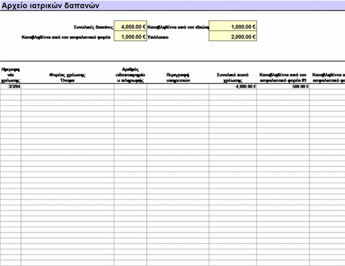 Αρχείο ιατρικών δαπανών