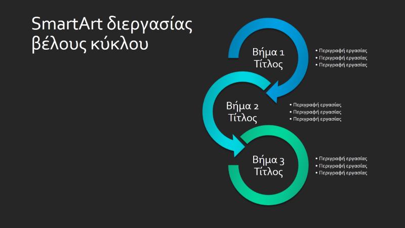 Διαφάνεια SmartArt διεργασίας βέλους κύκλου (μπλε-πράσινο σε μαύρο), ευρείας οθόνης