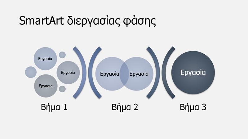 SmartArt διεργασίας σε φάσεις (ανοιχτό/σκούρο μπλε), ευρεία οθόνη
