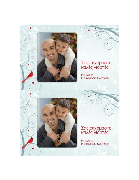 Κάρτα με φωτογραφία διακοπών (σχέδιο με νιφάδες χιονιού)