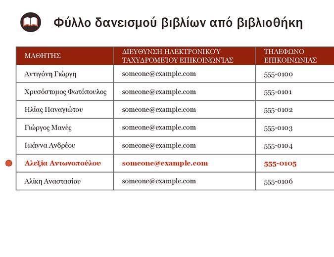 Φύλλο δανεισμού βιβλίων από βιβλιοθήκη