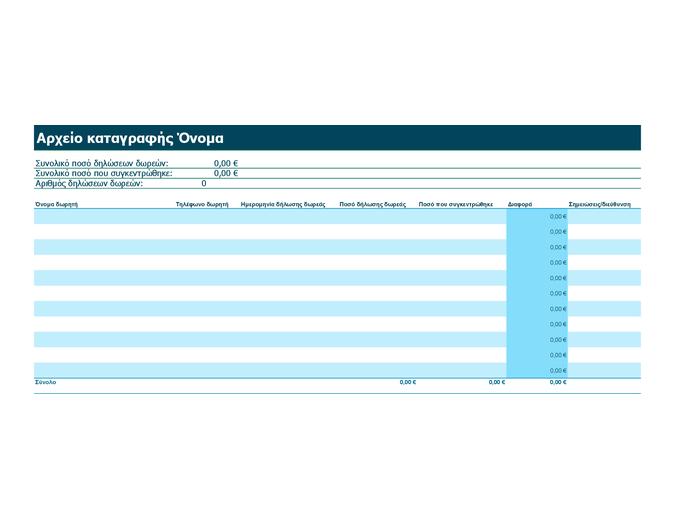 Αρχείο καταγραφής δωρεών και δηλώσεων δωρεών