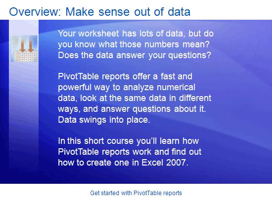 Εκπαιδευτική παρουσίαση: Excel 2007—Εισαγωγή στις αναφορές συγκεντρωτικού πίνακα