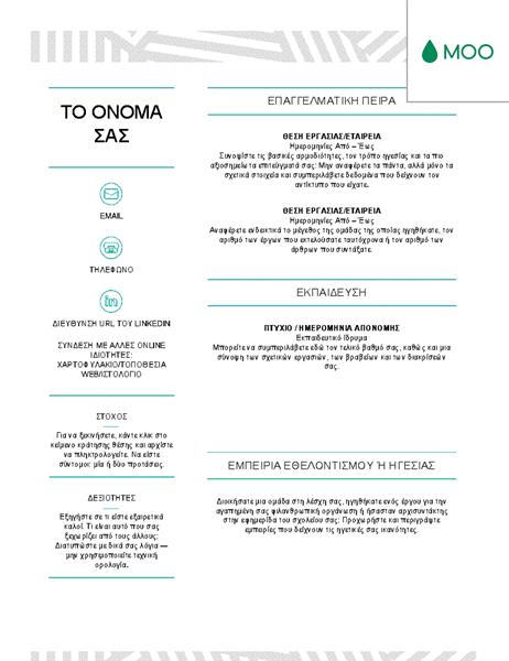 Δημιουργικό βιογραφικό σημείωμα, σχεδιασμένο από τη MOO