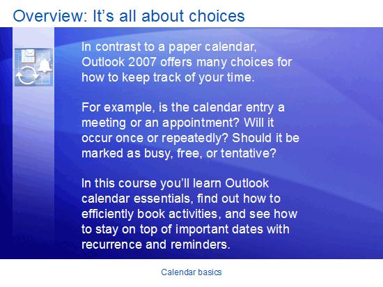 Εκπαιδευτική παρουσίαση: Outlook 2007—Βασικά στοιχεία του ημερολογίου