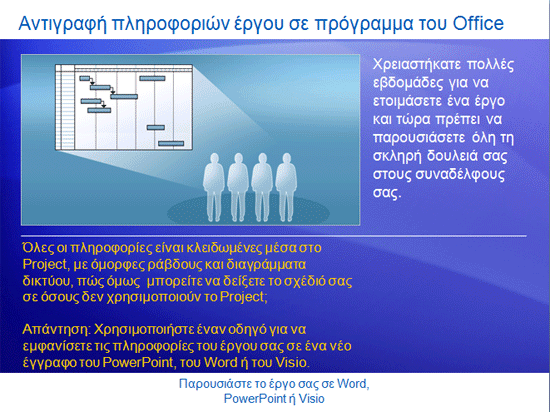 Εκπαιδευτική παρουσίαση: Project 2007—Παρουσίαση του έργου σας σε Word, PowerPoint ή Visio