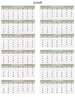 Ετήσιο ημερολόγιο 2016 - 2025 (Δευτ. - Κυρ.)