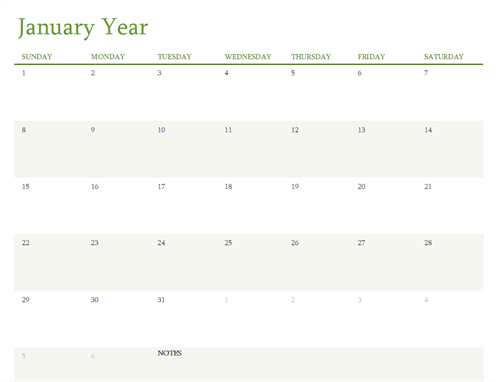 Any year calendar (1 month per tab)