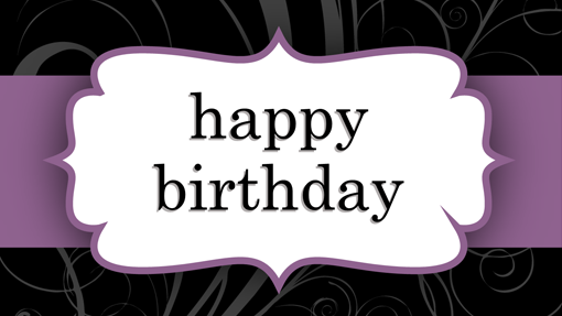 Birthday card (Purple Ribbon design, half-fold)
