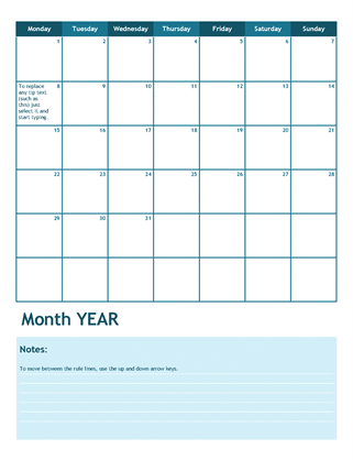 One-month academic calendar (Monday start)
