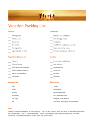 Vacation Packing List Word