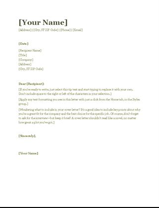 Resume Cover Letter Green