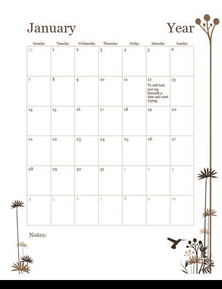 12-month Calendar (Mon-Sun)