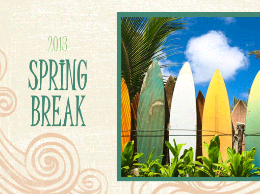 Spring Break photo album (beach design, widescreen)