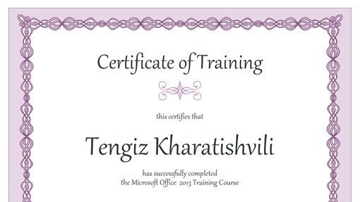 Certificates office certificate of training purple chain design yelopaper
