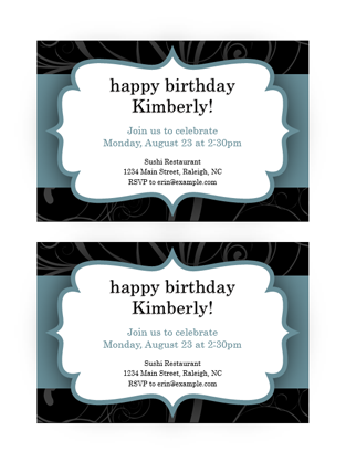 Party invitations (Blue Ribbon design, 2 per page)