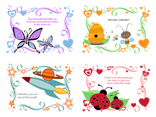 Kids Valentine's Day cards (24 designs)