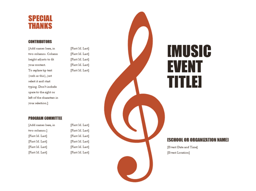 music program templates free