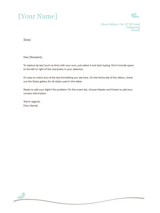 Nice CV Cover Letter Word · Personal Letterhead Throughout Professional Letter Template Word