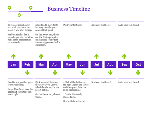 Timelines Officecom - Yearly timeline template excel