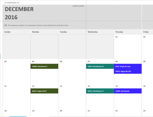 Homework Calendar Office Templates