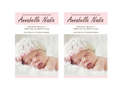 Baby girl birth announcement for Baby birth announcements templates for free