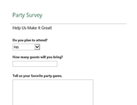 Party planning survey