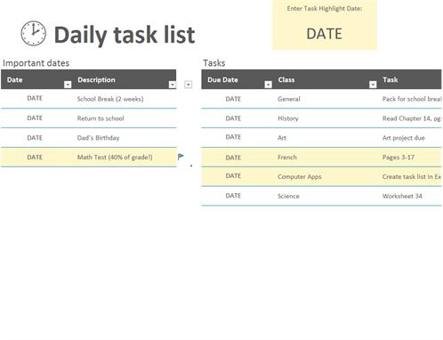 Liste des tâches quotidiennes