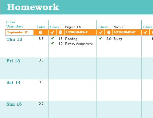 Programme des devoirs