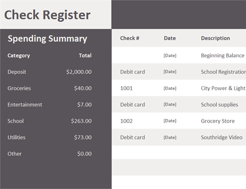 Check register with spending summary