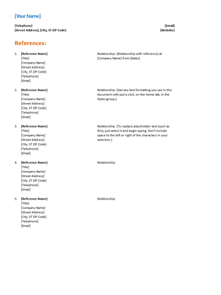 Reference list for resume (Functional design)