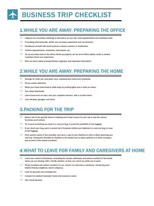 trip checklists