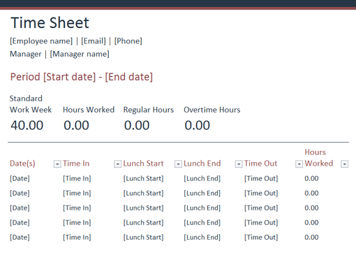 Time Sheet Office Templates – Time Sheet Template