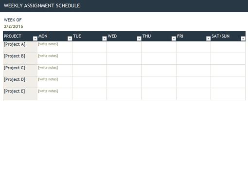 weekly work schedule template free