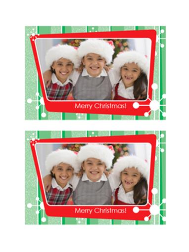 Foto kaarten voor Kerstmis (groene strepen, rood fotolijst)