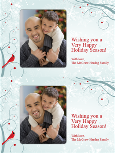 Holiday photo cards (snowflake design, 2 per page)